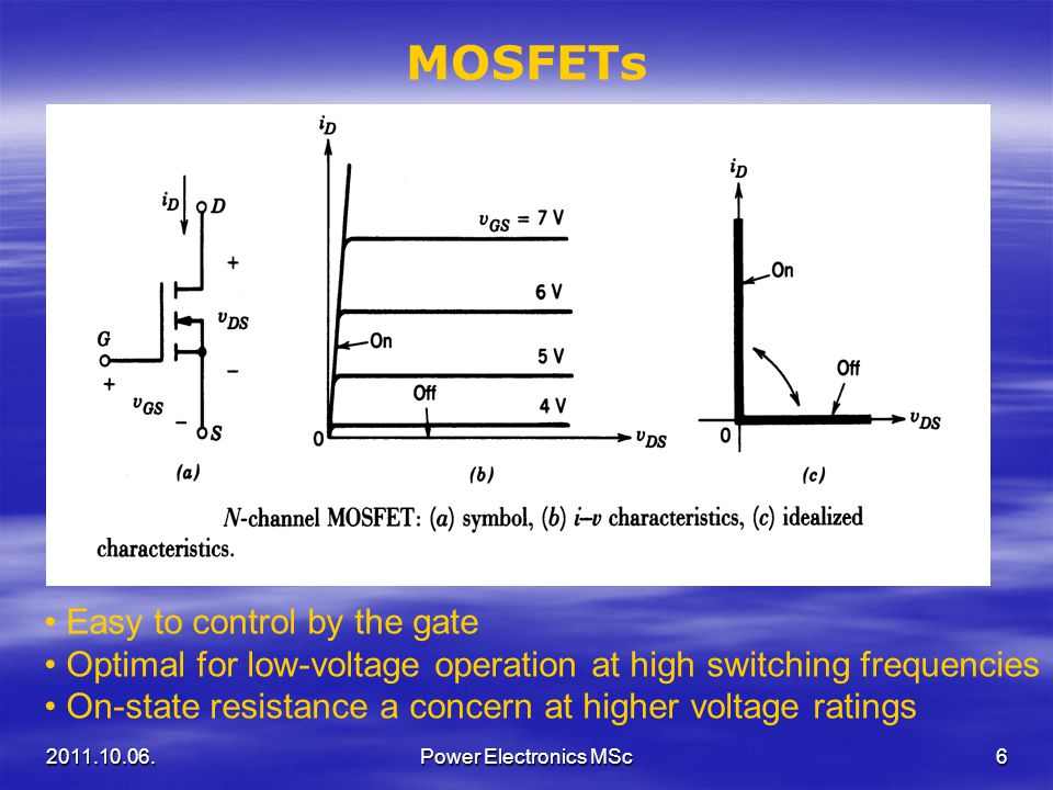 MOSFETs Easy to control by the gate
