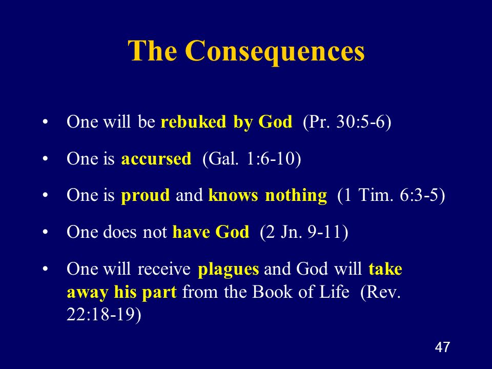 The Consequences One will be rebuked by God (Pr. 30:5-6)