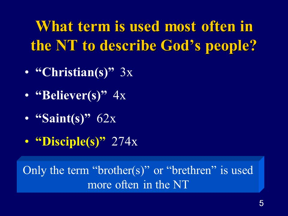 What term is used most often in the NT to describe God's people