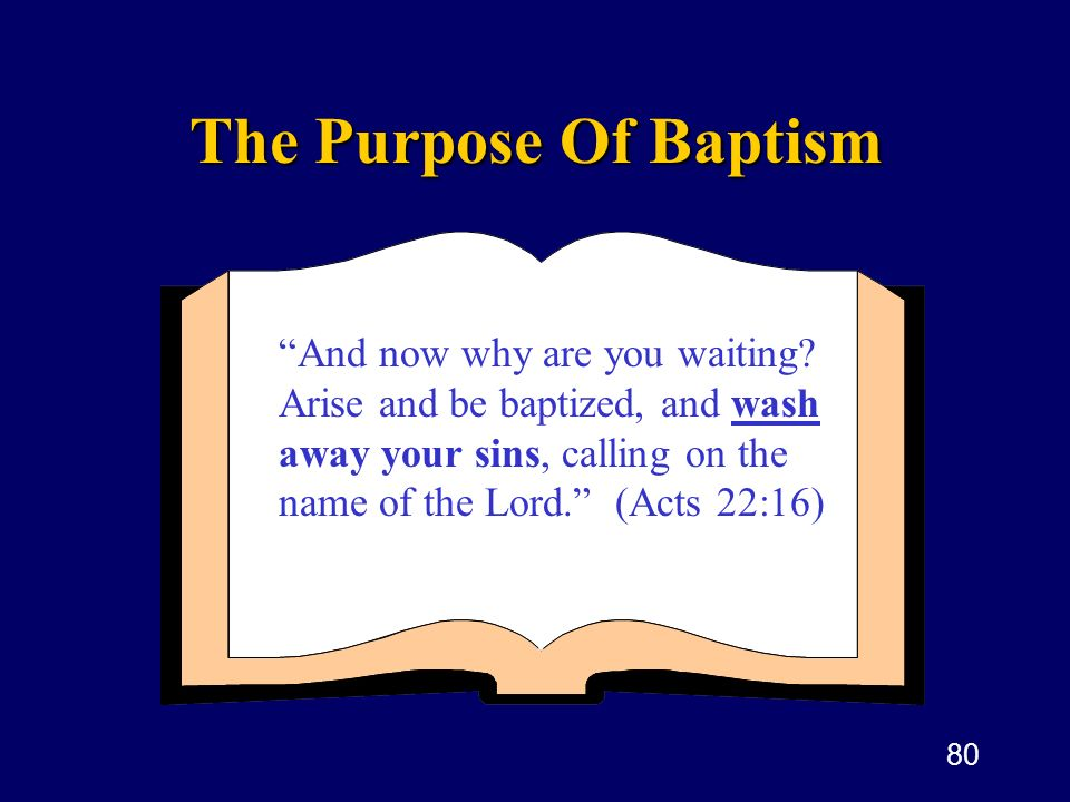 The Purpose Of Baptism And now why are you waiting.