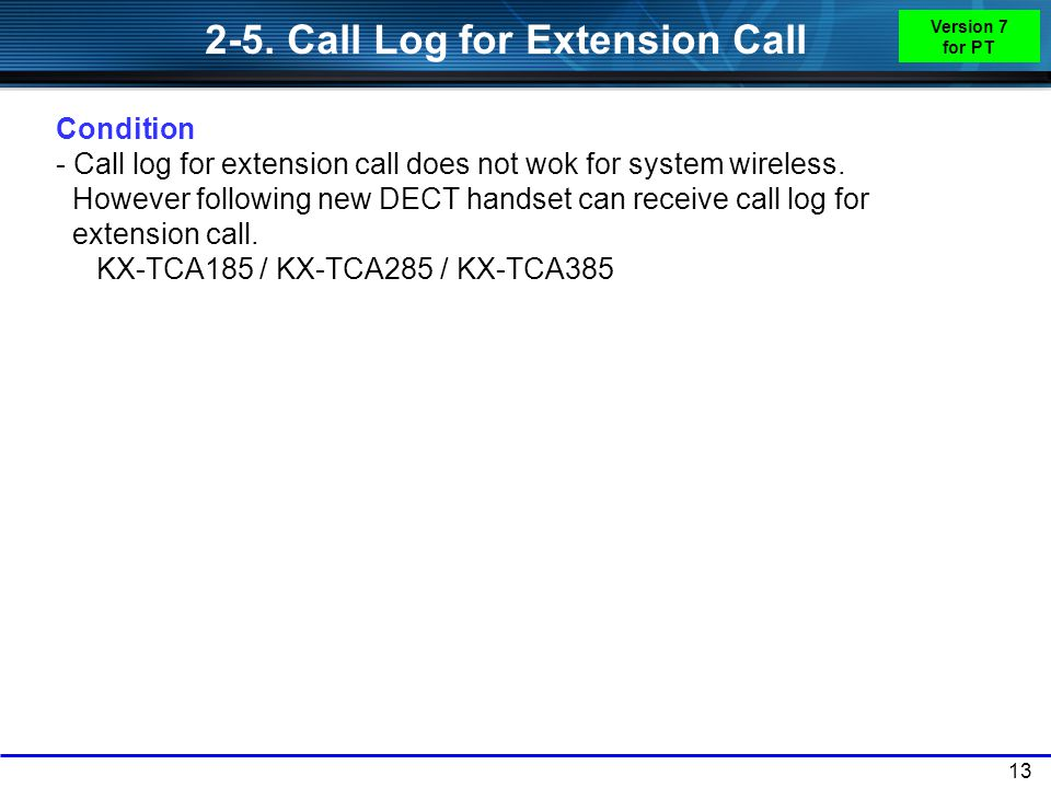 2-5. Call Log for Extension Call