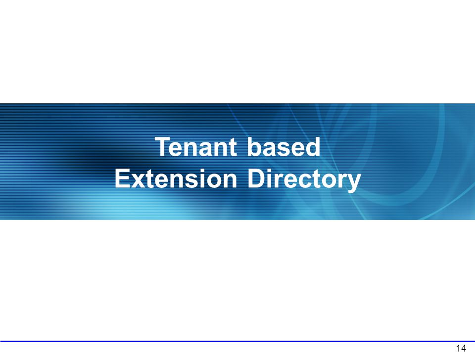 Tenant based Extension Directory