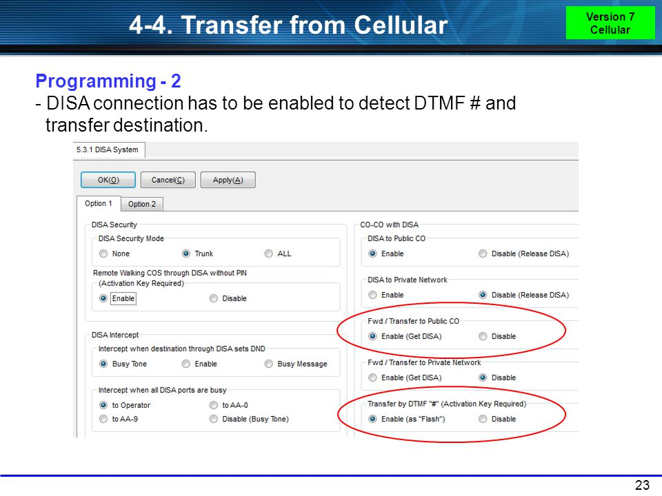 4-4. Transfer from Cellular