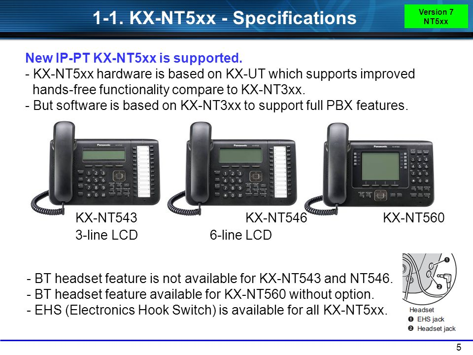 1-1. KX-NT5xx - Specifications