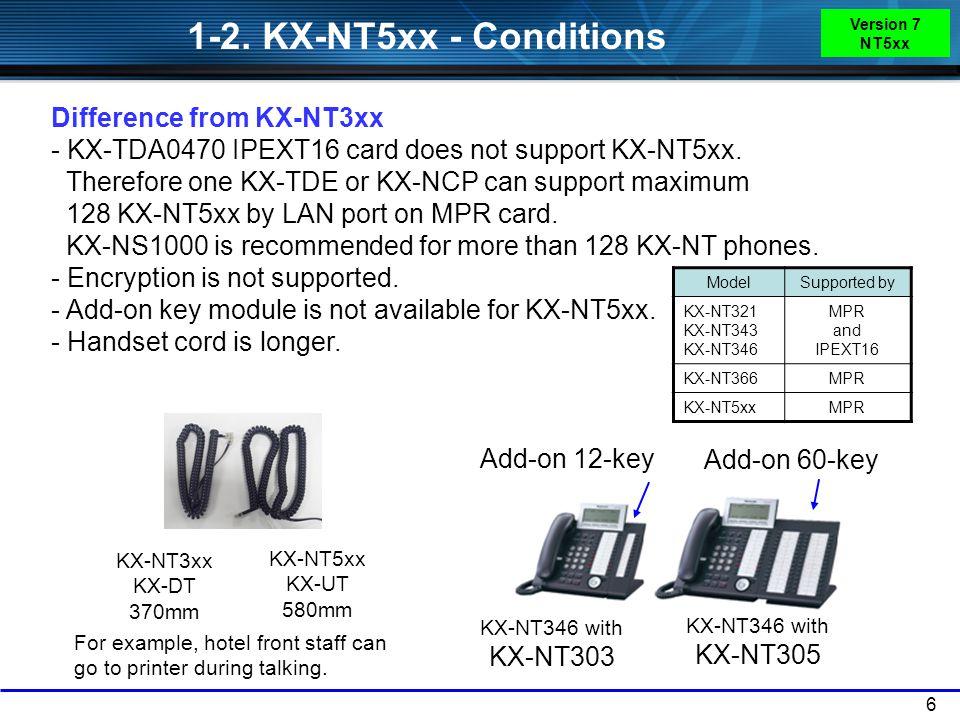 1-2. KX-NT5xx - Conditions Version 7 NT5xx.