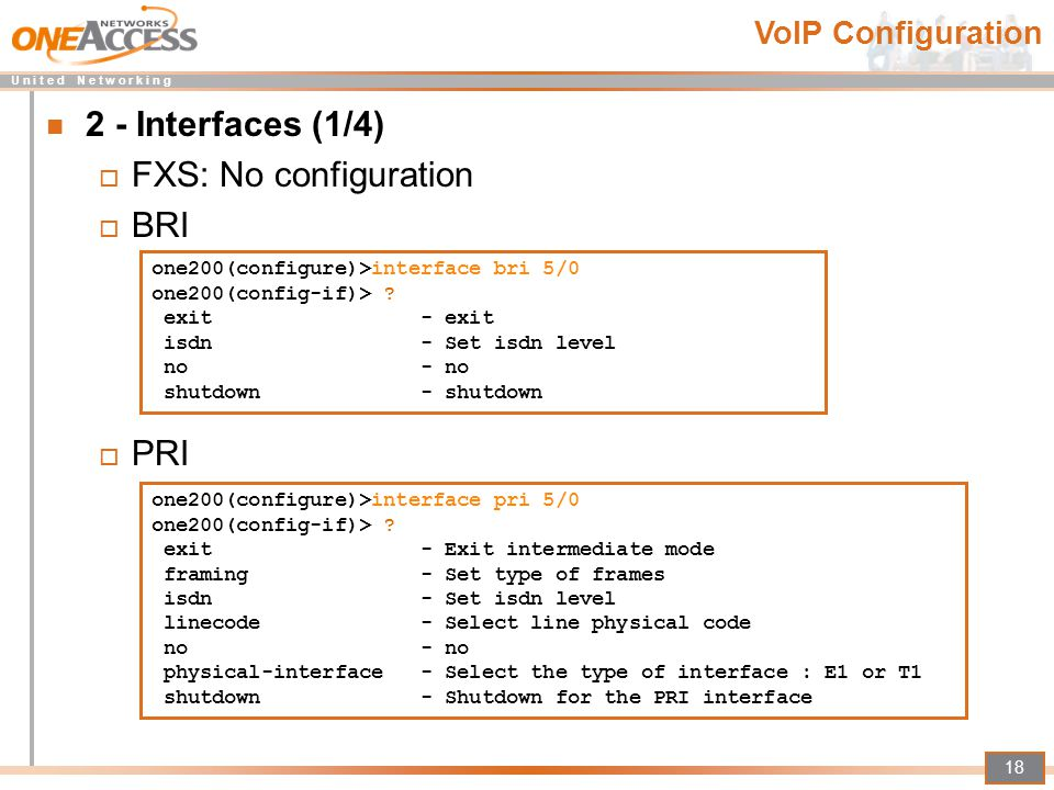 2 - Interfaces (1/4) FXS: No configuration BRI PRI VoIP Configuration