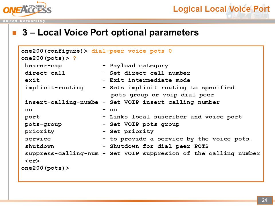 3 – Local Voice Port optional parameters