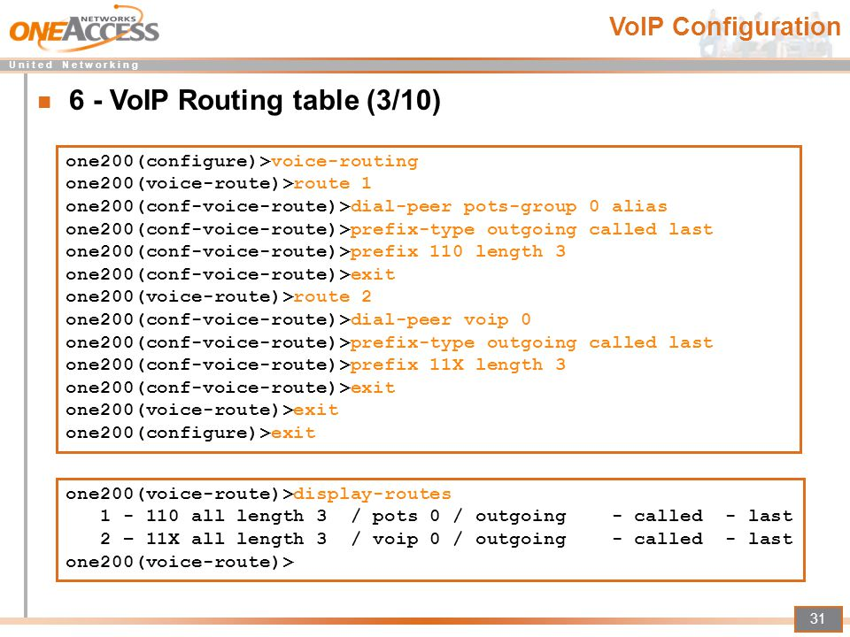 6 - VoIP Routing table (3/10)