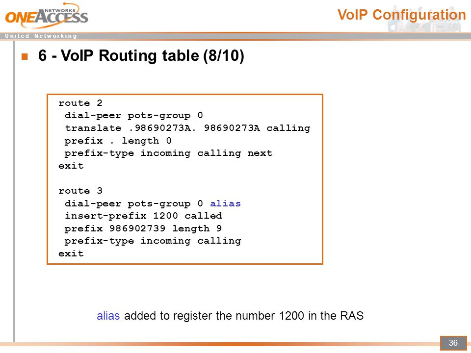 6 - VoIP Routing table (8/10)