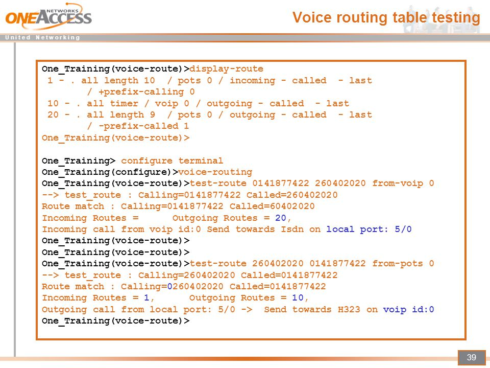 Voice routing table testing