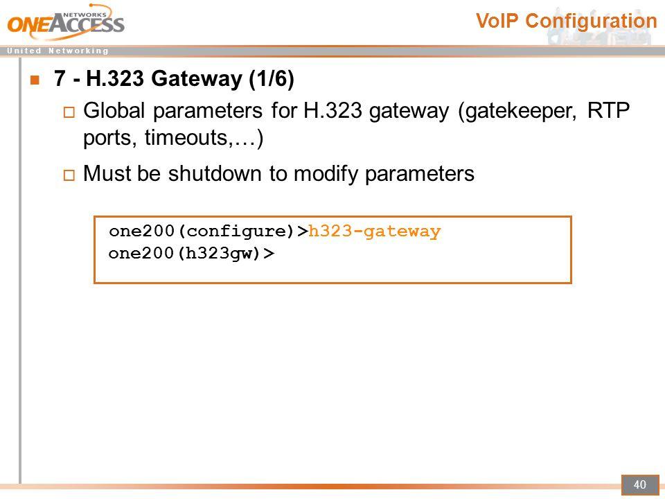 Must be shutdown to modify parameters