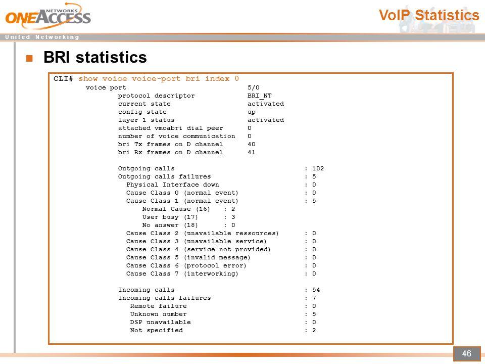 BRI statistics VoIP Statistics CLI# show voice voice-port bri index 0