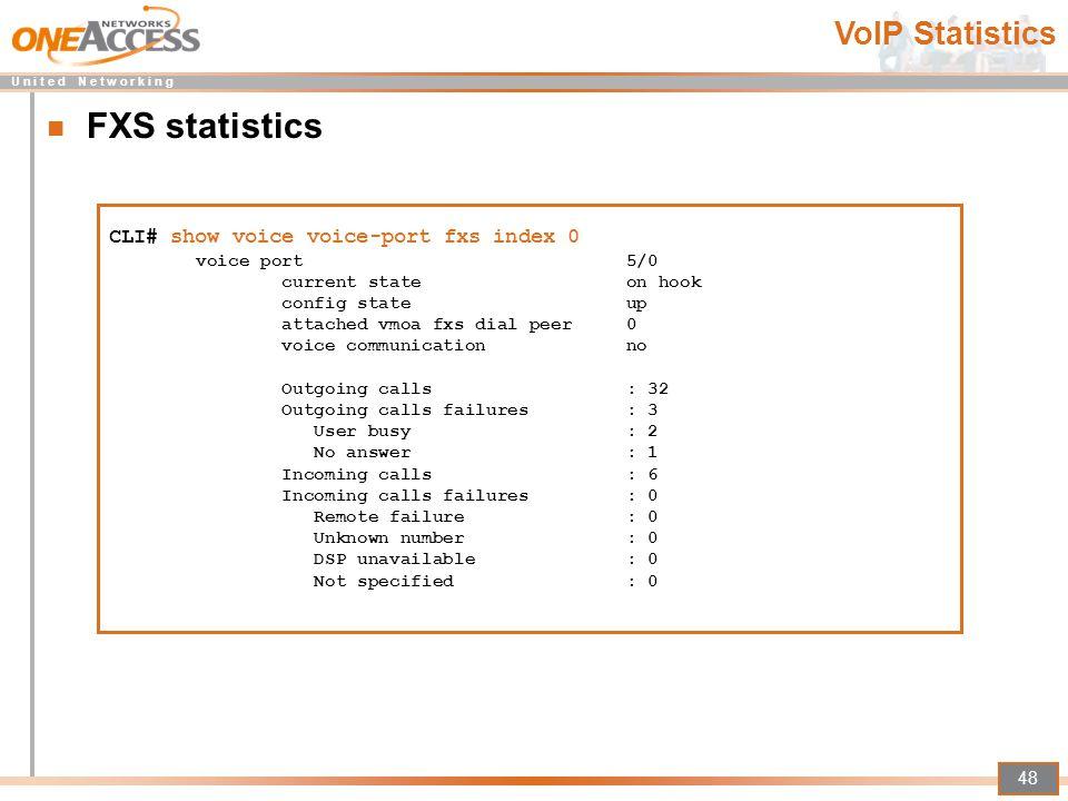 FXS statistics VoIP Statistics CLI# show voice voice-port fxs index 0