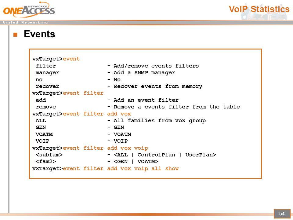 Events VoIP Statistics vxTarget>event