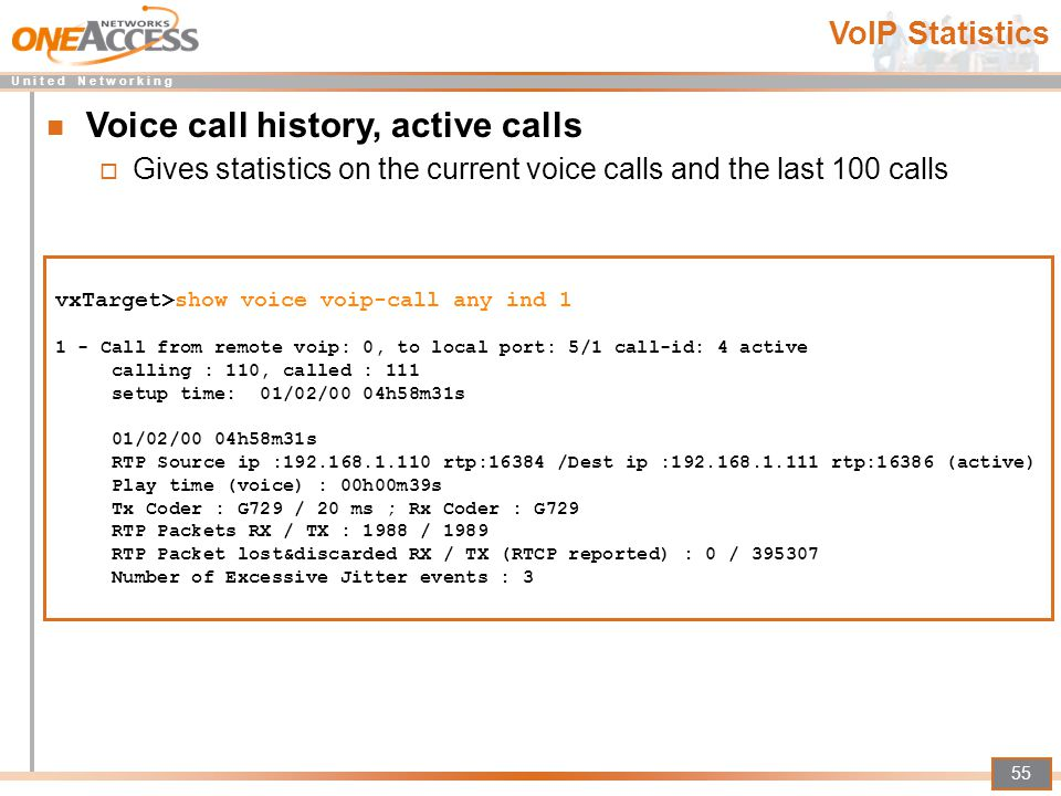 Voice call history, active calls
