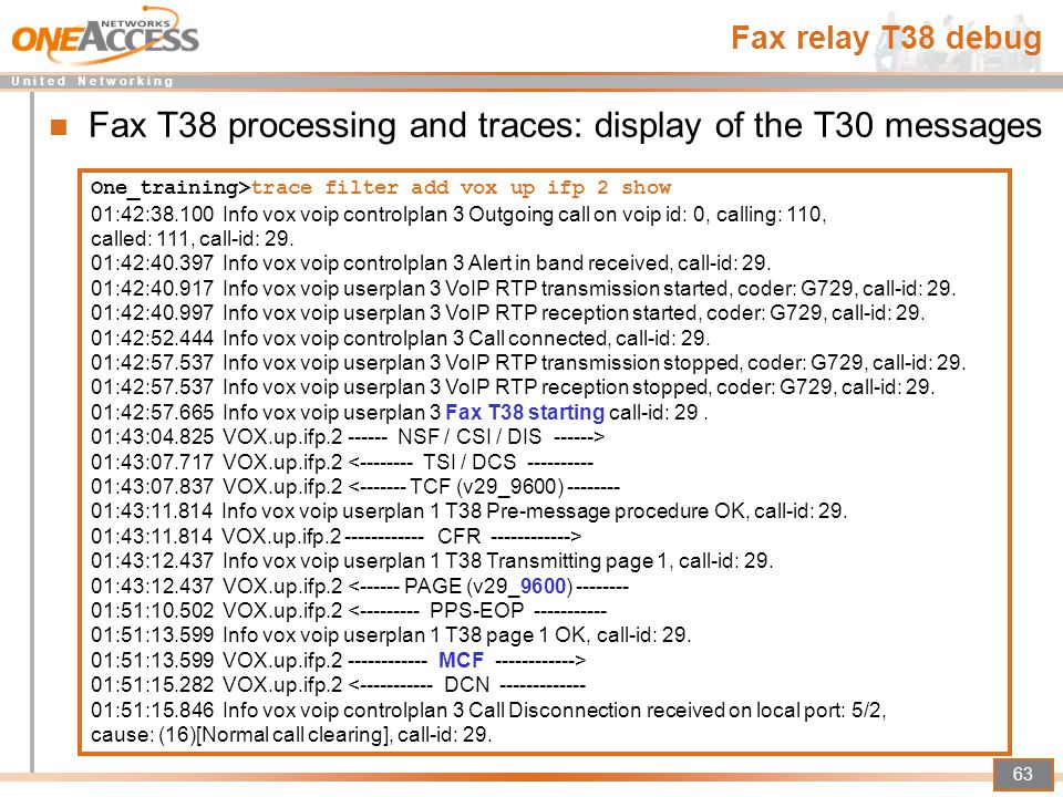 Fax T38 processing and traces: display of the T30 messages