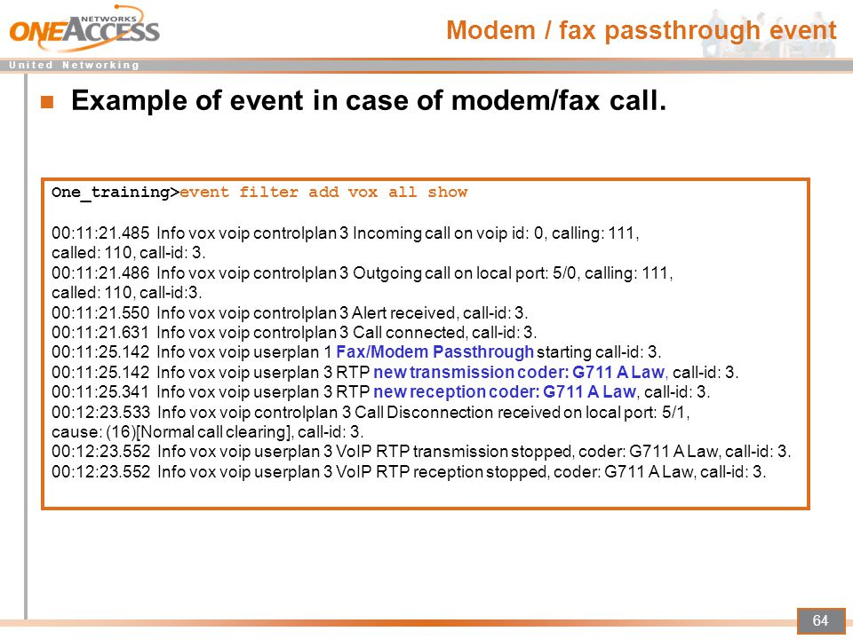 Modem / fax passthrough event