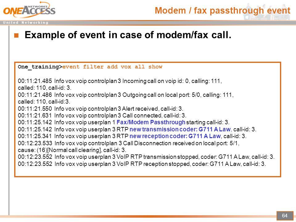 Modem / fax passthrough event