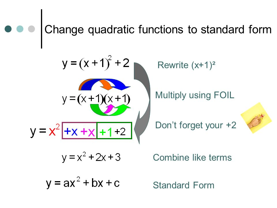 Change quadratic functions to standard form