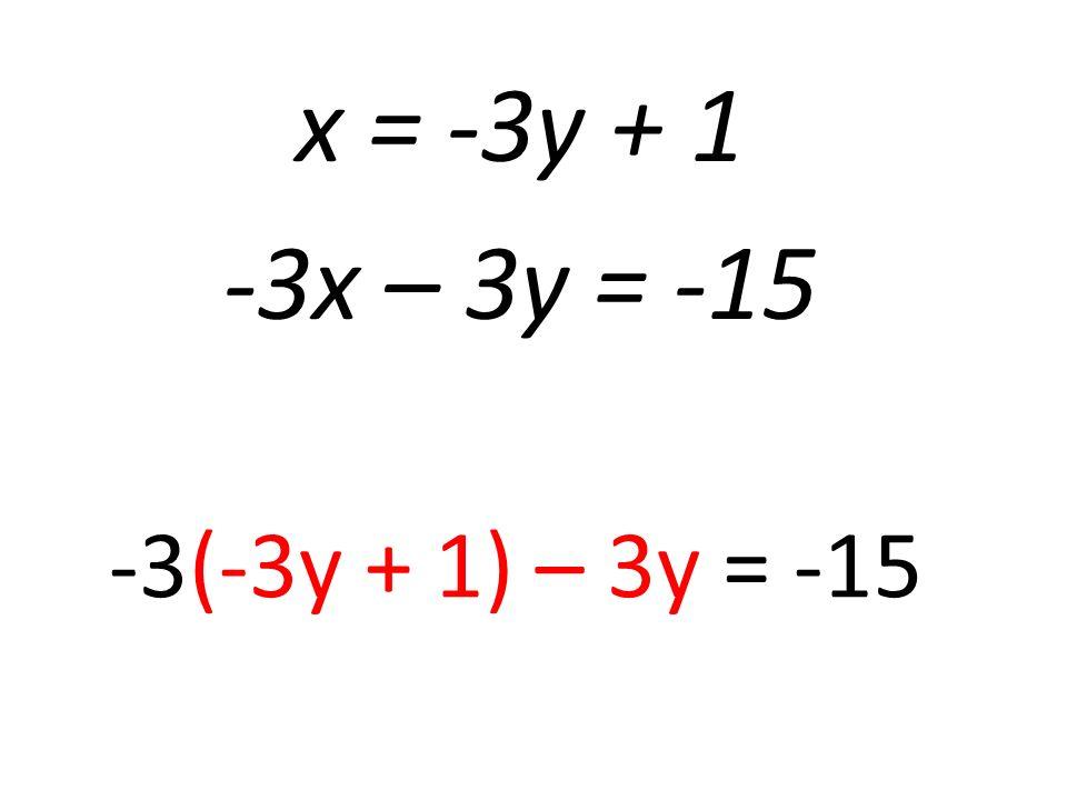 x = -3y + 1 -3x – 3y = -15 -3(-3y + 1) – 3y = -15