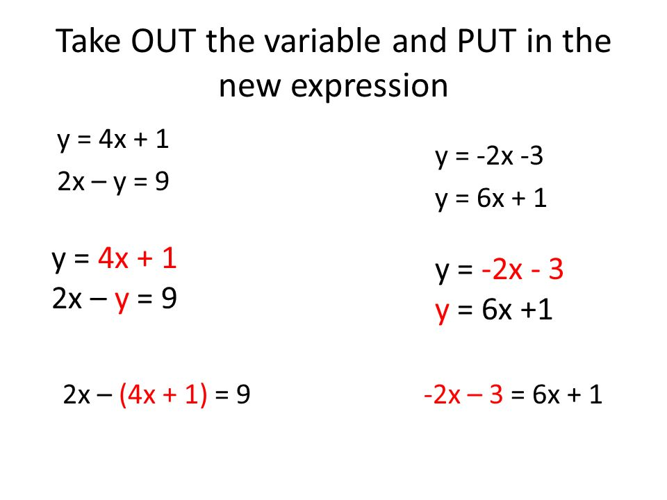 Take OUT the variable and PUT in the new expression