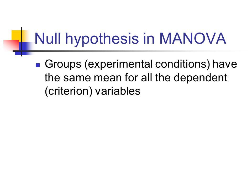 Null hypothesis in MANOVA