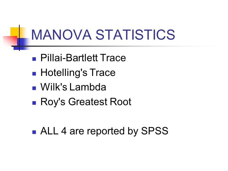 MANOVA STATISTICS Pillai-Bartlett Trace Hotelling s Trace