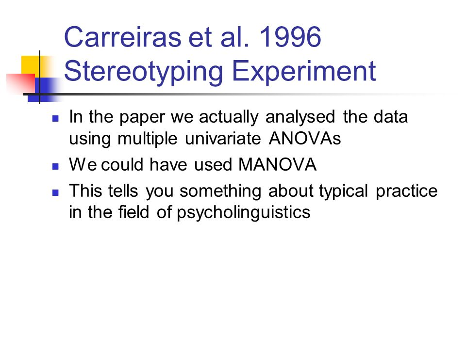 Carreiras et al. 1996 Stereotyping Experiment