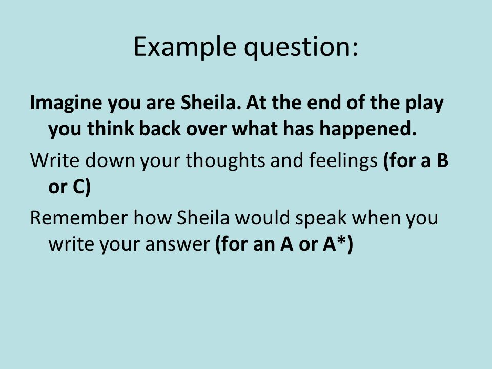 Example question: Imagine you are Sheila. At the end of the play you think back over what has happened.