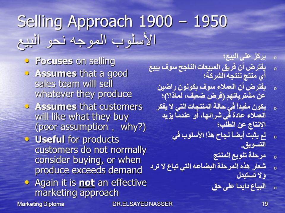 Selling Approach 1900 – 1950 الأسلوب الموجه نحو البيع