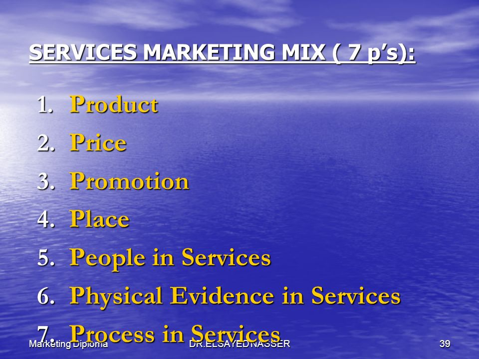 SERVICES MARKETING MIX ( 7 p's):