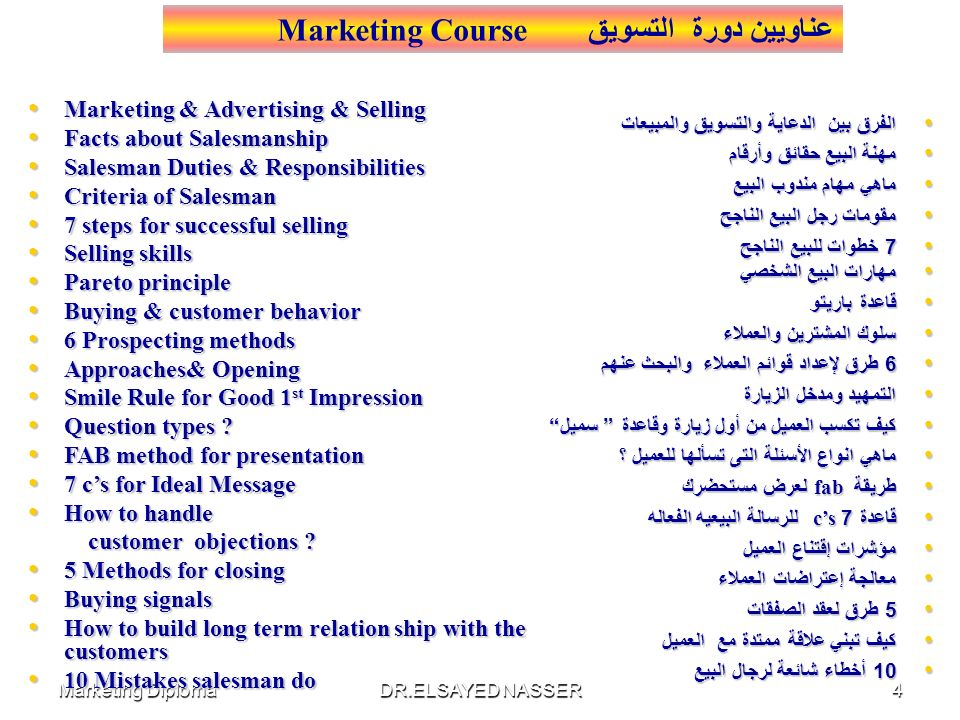 عناويين دورة التسويق Marketing Course