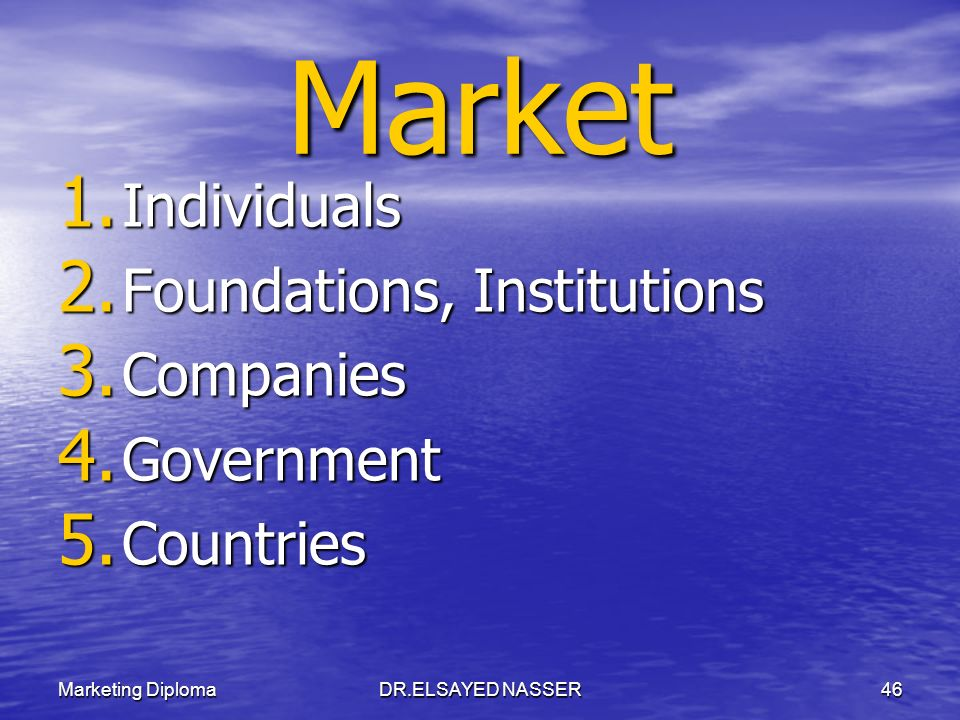 Market Individuals Foundations, Institutions Companies Government
