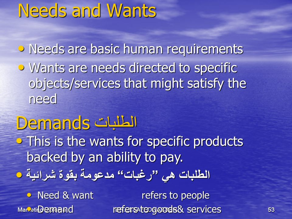 Needs and Wants Demands الطلبات Needs are basic human requirements
