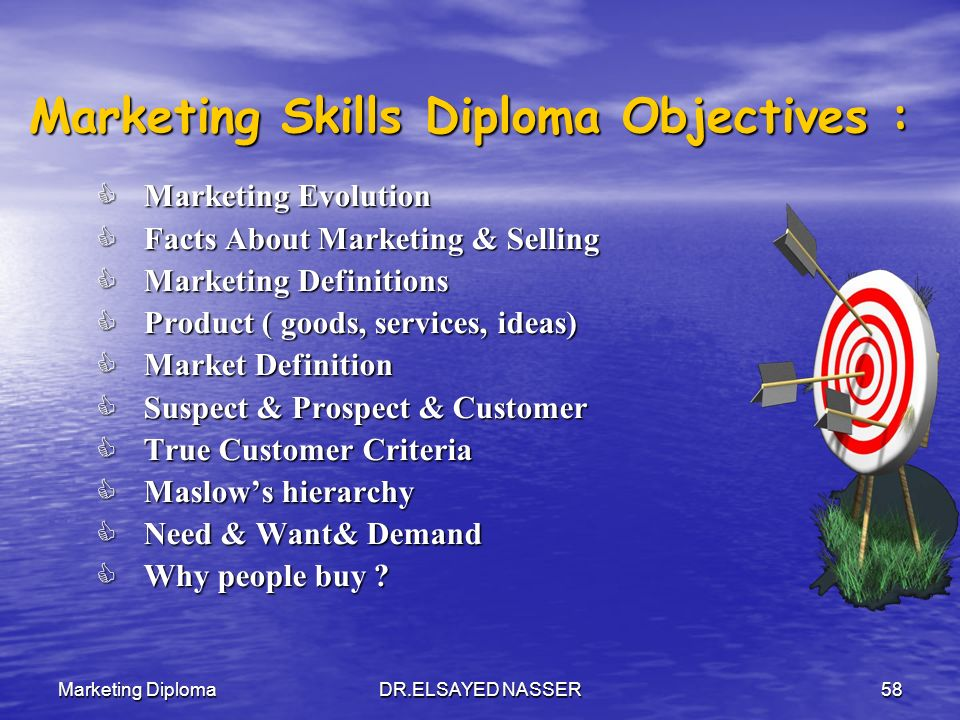 Marketing Skills Diploma Objectives :