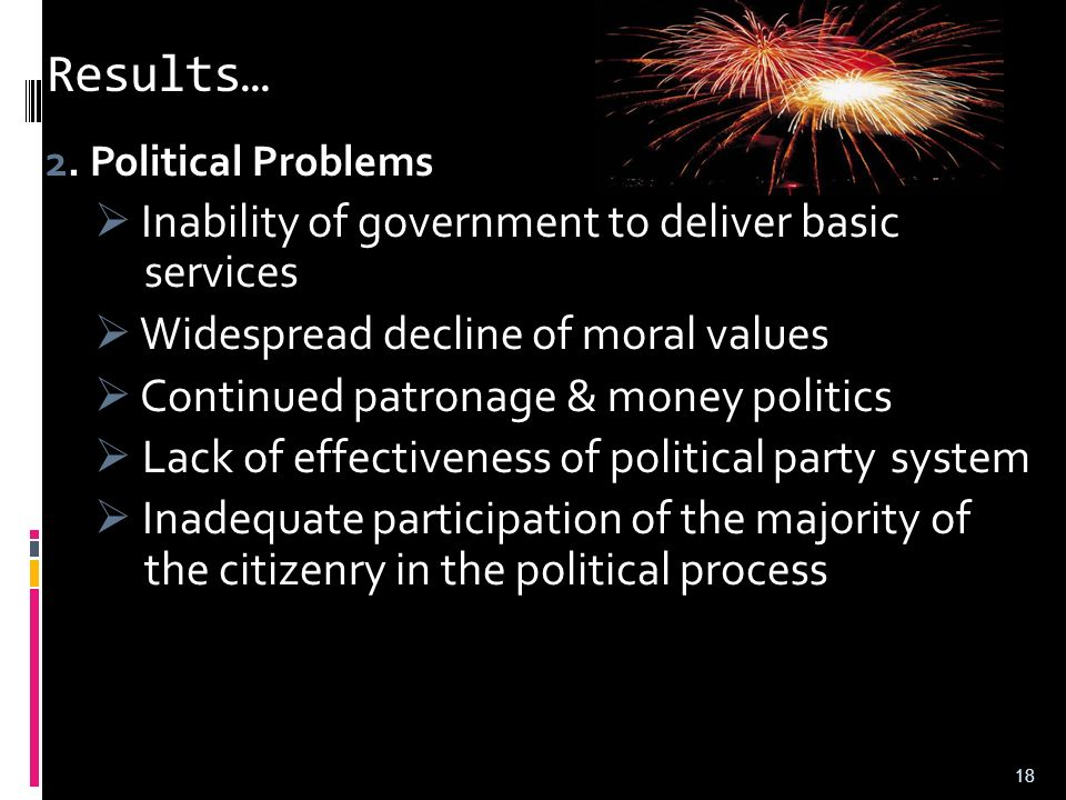 Results…  Widespread decline of moral values