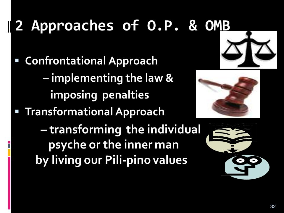2 Approaches of O.P. & OMB Confrontational Approach