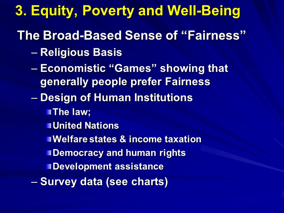 3. Equity, Poverty and Well-Being