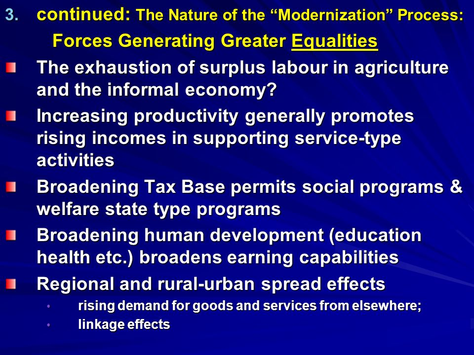 continued: The Nature of the Modernization Process: