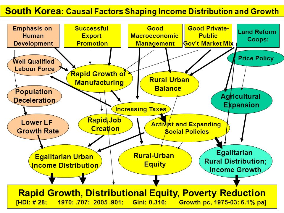 South Korea: Causal Factors Shaping Income Distribution and Growth