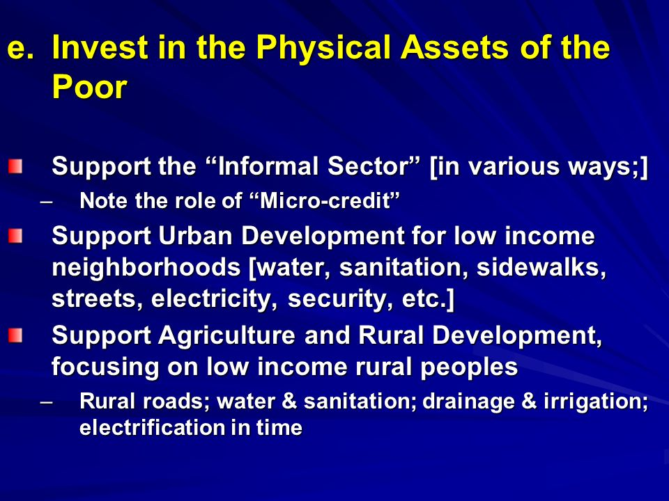 e. Invest in the Physical Assets of the Poor