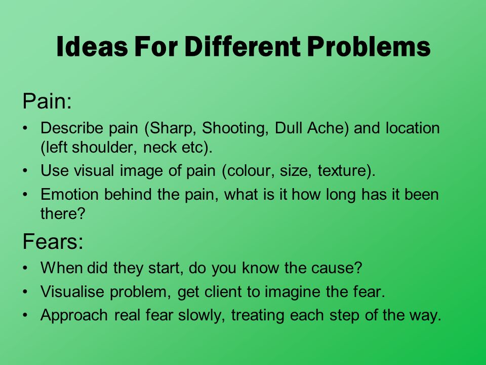 Ideas For Different Problems