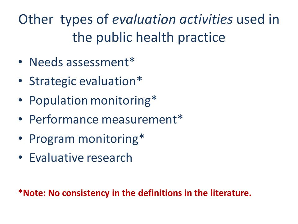 Other types of evaluation activities used in the public health practice