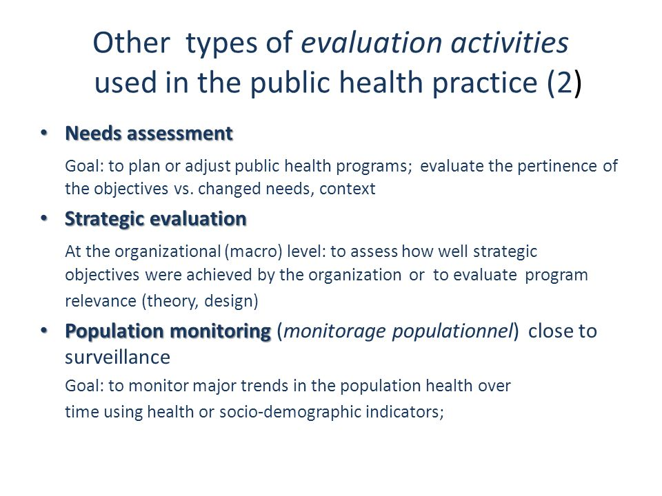 Other types of evaluation activities used in the public health practice (2)