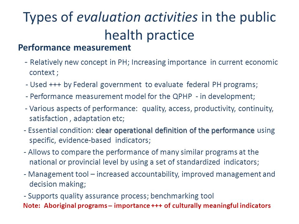 Types of evaluation activities in the public health practice