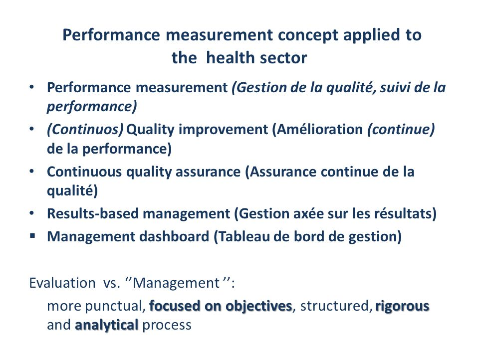 Performance measurement concept applied to the health sector