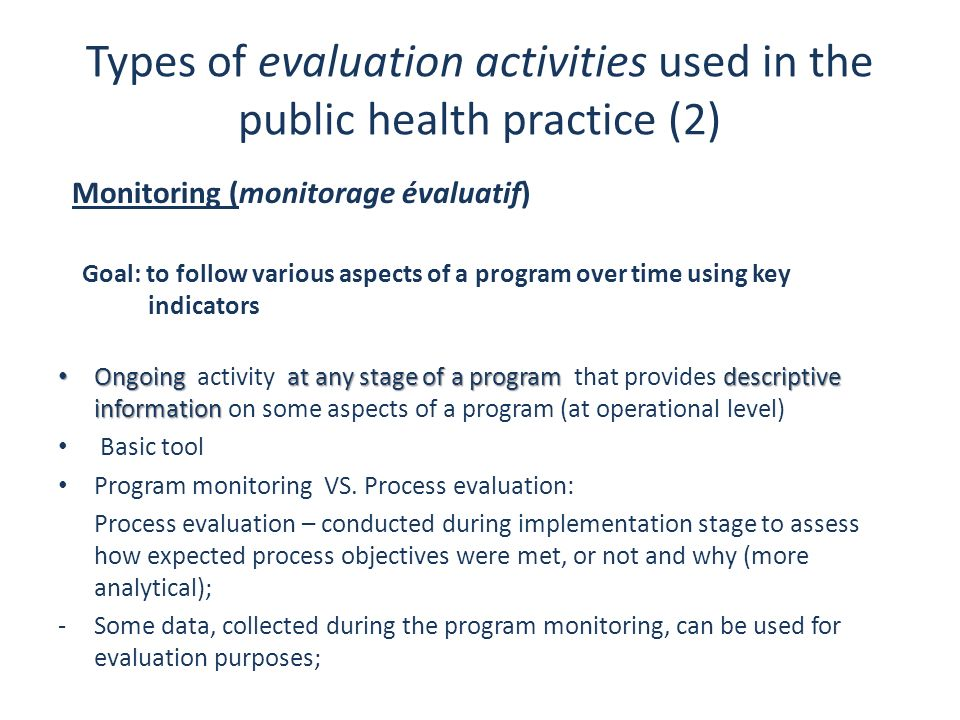 Types of evaluation activities used in the public health practice (2)