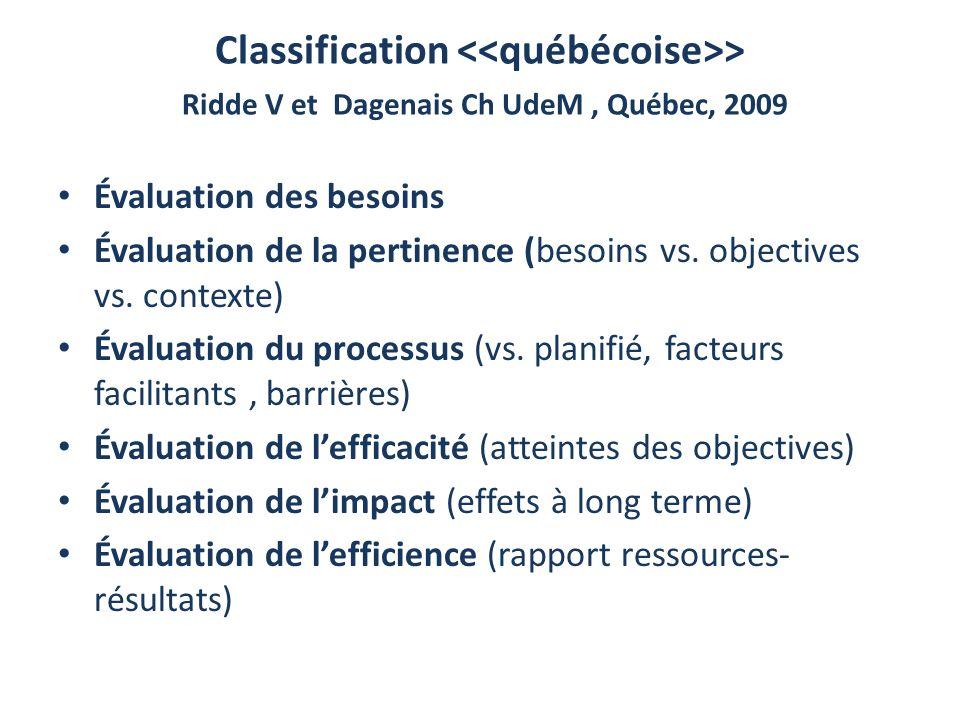 Classification <<québécoise>> Ridde V et Dagenais Ch UdeM , Québec, 2009