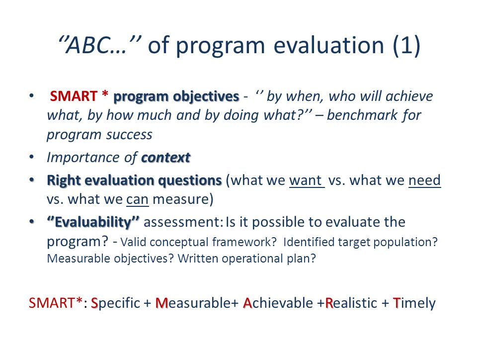 ''ABC…'' of program evaluation (1)