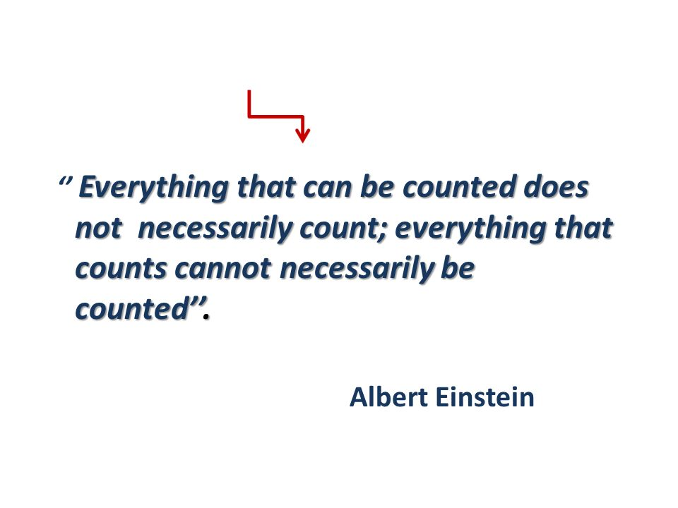 '' Everything that can be counted does not necessarily count; everything that counts cannot necessarily be counted''.